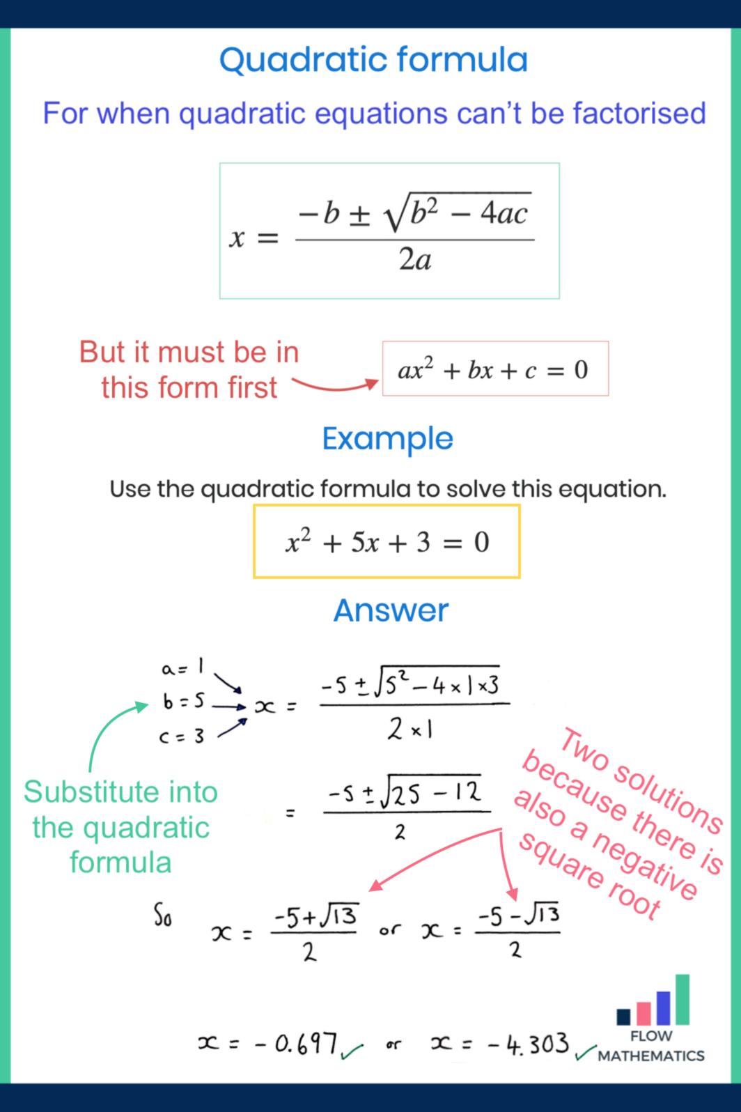 Quadratic Formula Quadratics Studying Math Gcse Maths Revision [ 1596 x 1064 Pixel ]