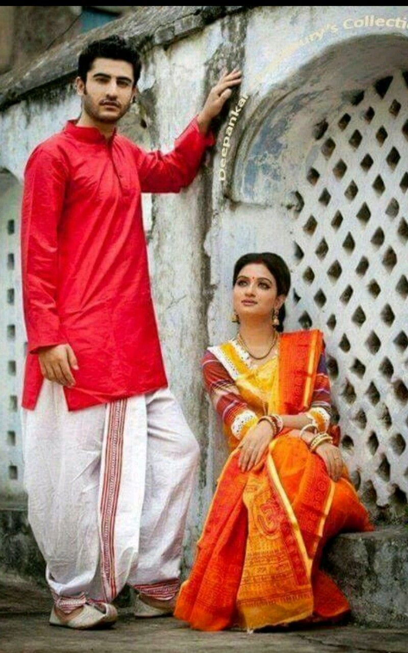 Bengali couple in ethnic bengali dresses