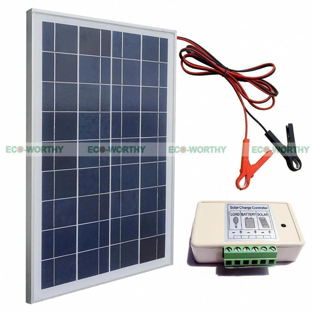25w 12v Solar Panel System Kit W Battery Clips For 12v Shed Garage Camping Home Solarpanelkits Solarpanels S In 2020 12v Solar Panel Solar Panels Solar Panel System