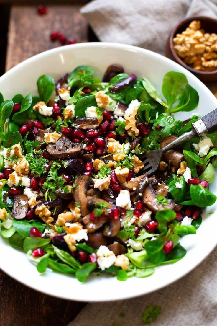 Photo of Corn salad with fried mushrooms, feta cheese and walnuts – cooking carousel