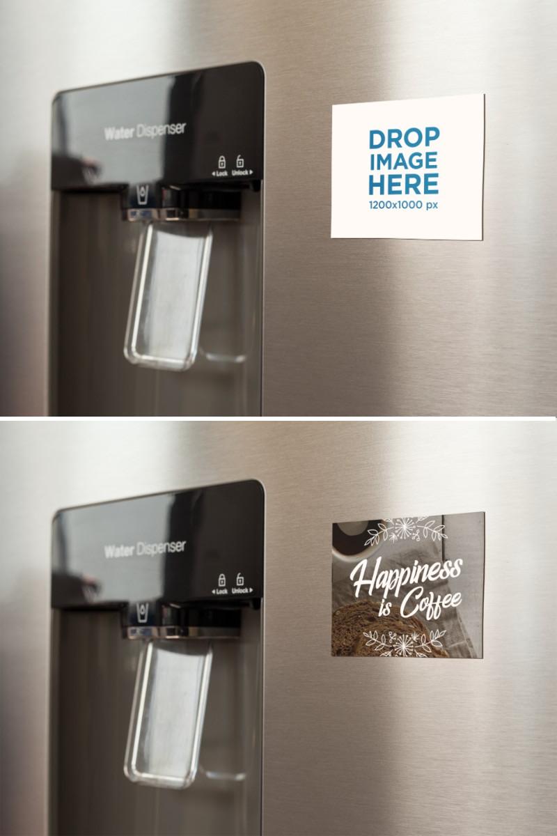 Placeit Fridge Magnet Mockup On A Metallic Fridge Near The Water Dispenser Water Dispenser Fridge Magnets Magnets