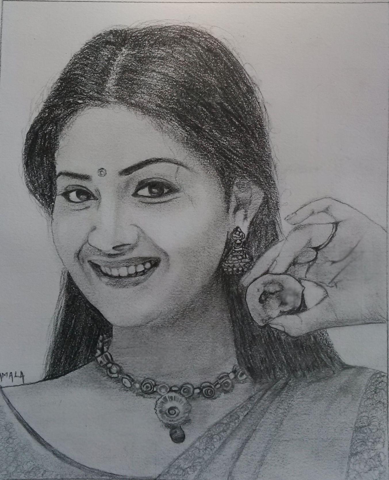 Actress keerthi suresh drawing sketches my drawings pencil drawings pencil art galleries
