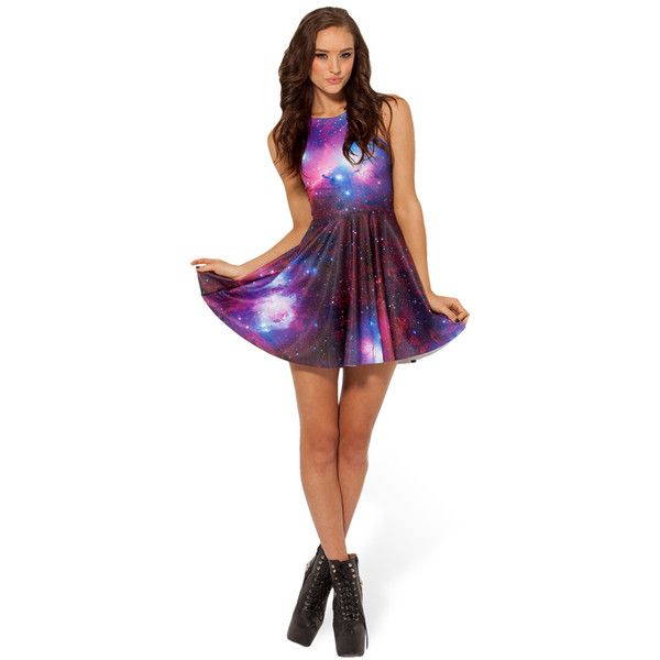 Purple Sleeveless Starry Sky Galaxy Skater Dress (£11) ❤ liked on Polyvore featuring dresses, galaxy, purple, white sleeveless dress, purple sleeveless dress, sleeveless dress, white dress and white skater dress