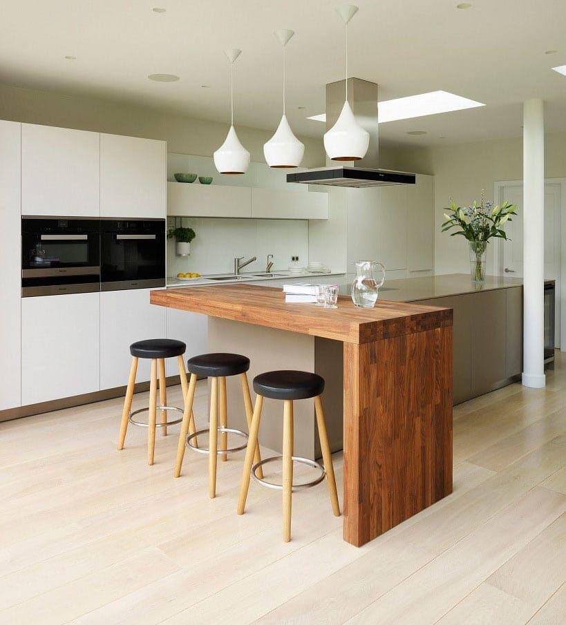 Wood Waterfall Countertop Kitchen Design Kitchen Interior