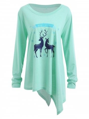 asymmetric plus size christmas deer graphic t shirt style pinterest christmas deer and shopping