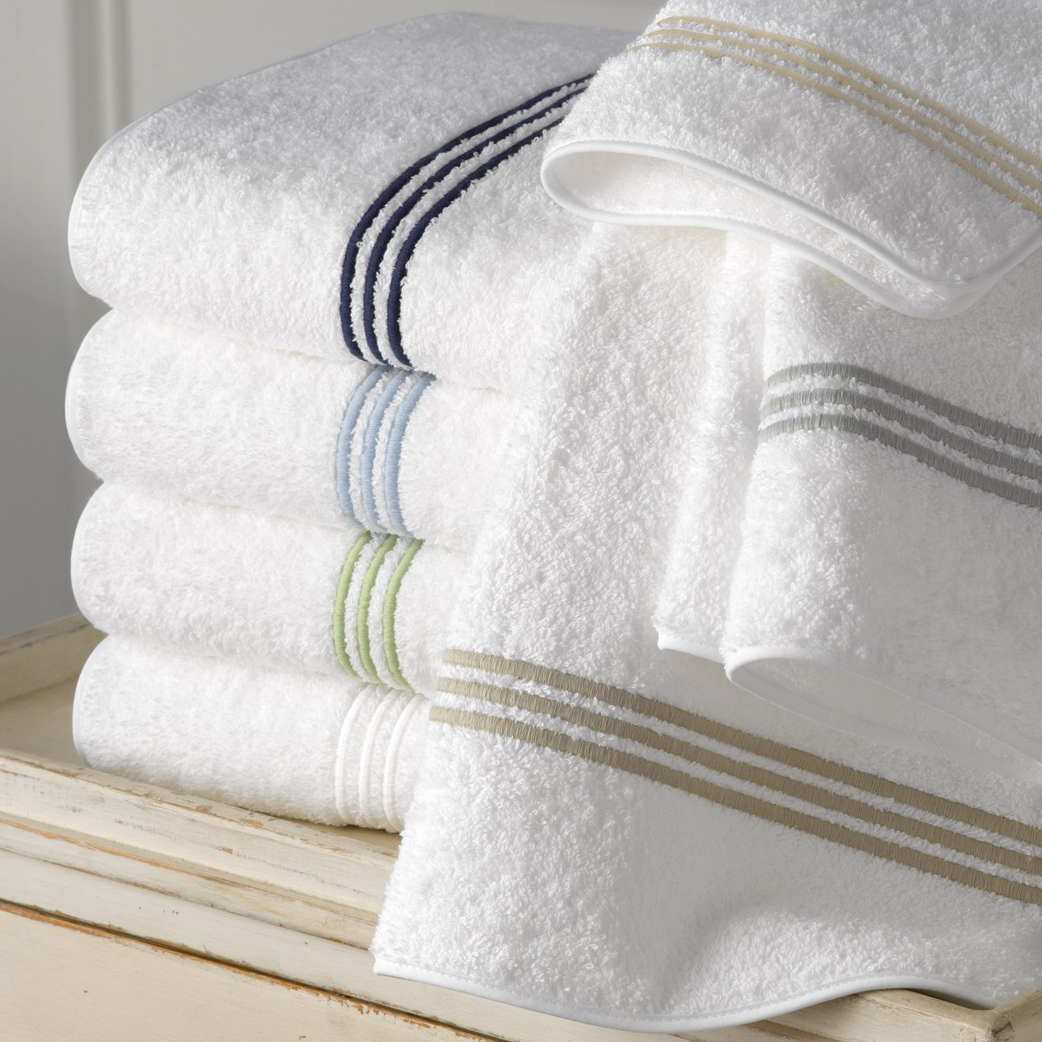 Matouk Three Rows Of Elegantly Embroidered Stripes In Ivory Silver Almond White Spring Green Blue Navy Or B With Images Bath Towels Luxury Bath Linens Luxury Linen