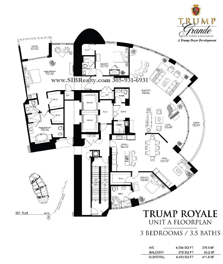 Penthouses in miami floor plans floor plan trump palace for Miami house plans