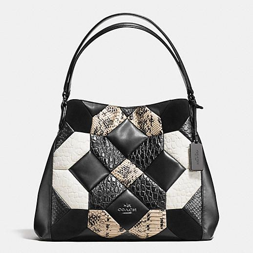 Each piece of this luxurious patchwork of smooth and textured leathers is individually cut and sewn on, making every bag is a labor of love that takes nearly a day to complete. The beautifully complex design was inspired by the checkerboard floors in 1950