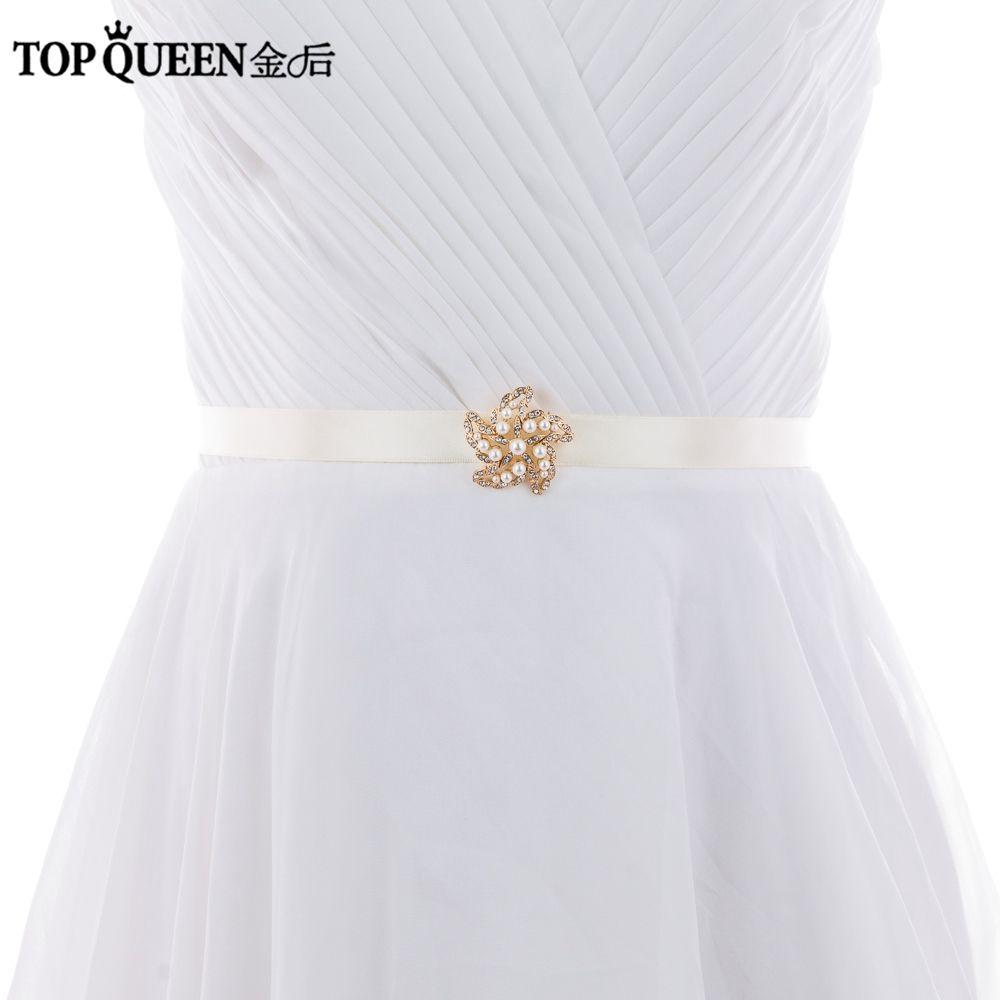 Topqueen Stock S315 Metal Pearls Wedding Blet Decoration Elegant
