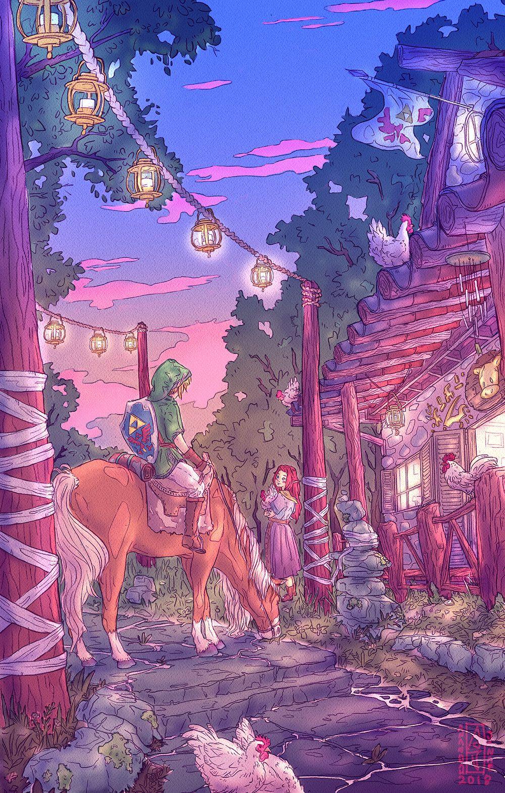 Legend Of Zelda Link And Malon At Lon Lon Ranch Fan Art Print Etsy Zelda Art Zelda Drawing Legend Of Zelda
