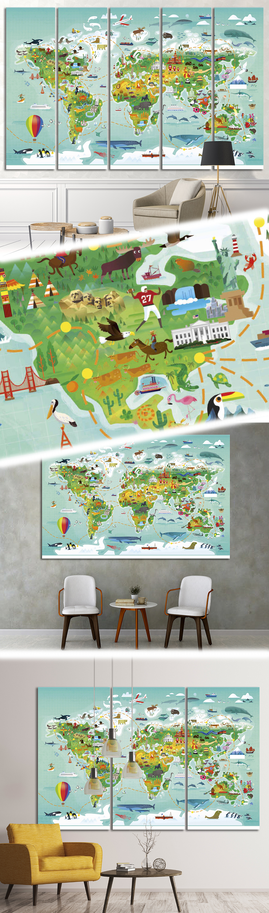 World map for kids32 Canvas Print World