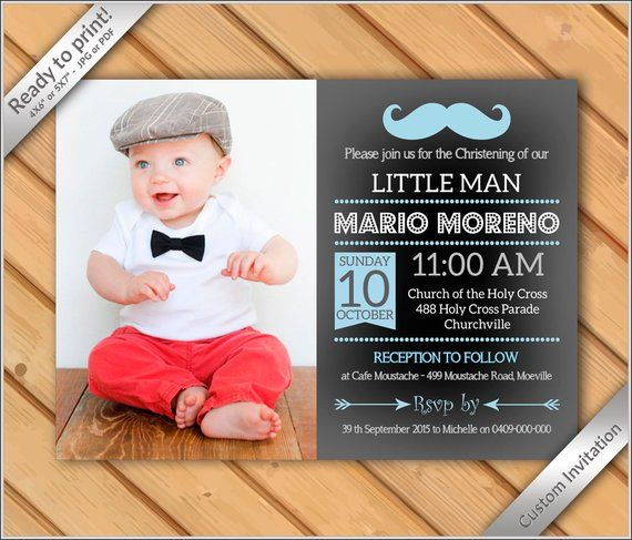 Baby Boy Baptism Christening Dedication Photo Invitation