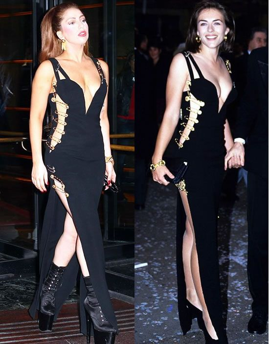 Lady Gaga Channels Liz Hurley As She Steps Out In Iconic Versace Safety Pin Gown Dresses Fashion Celebrity Outfits