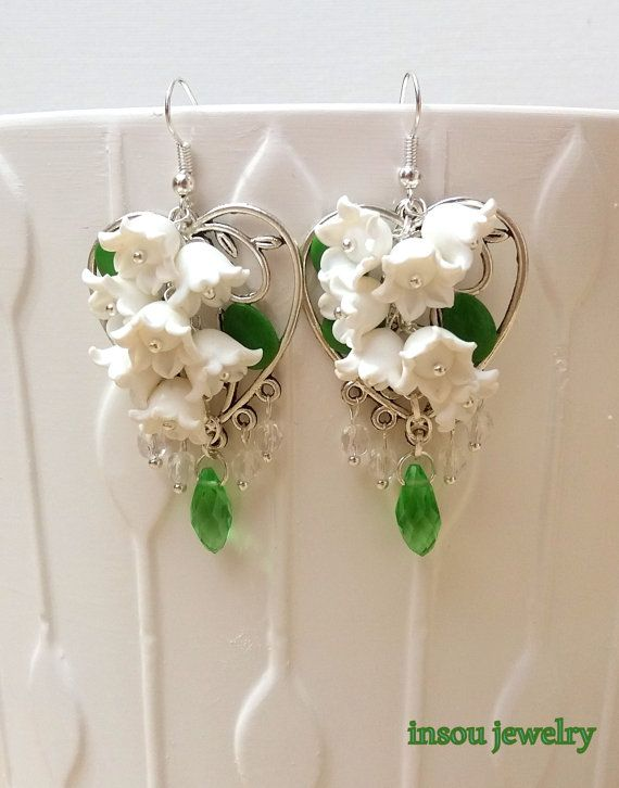 Flower Earrings, Wedding Earrings, Lily Of The Valley,White Flowers ...