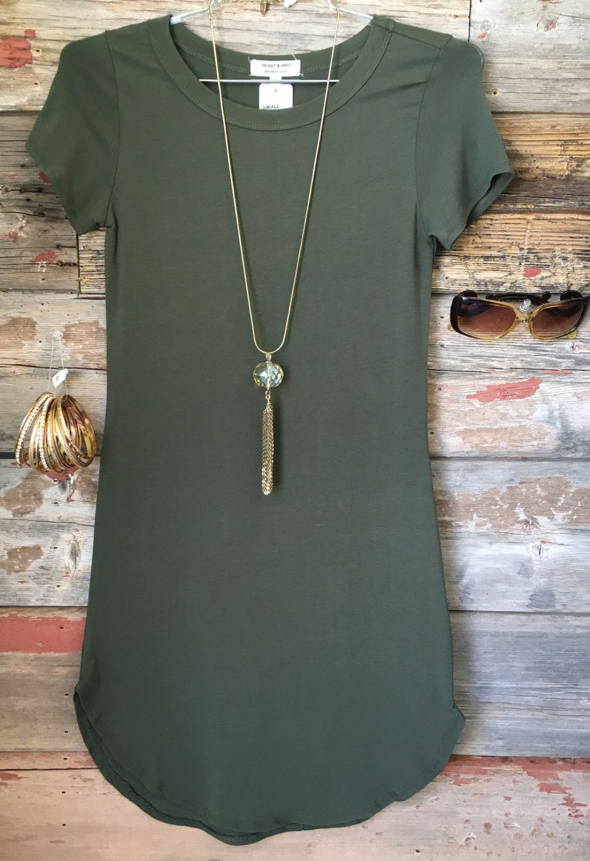 Green t shirt dress outfit  Fun in the Sun Tunic Dress Olive  Tunics and Clothes