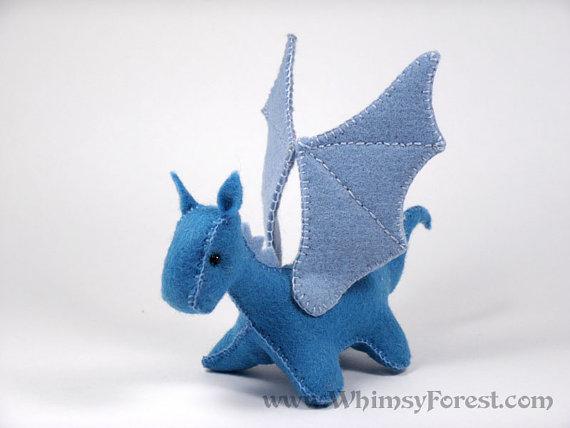 Miniature Blue Felt Toy Dragon #feltdragon