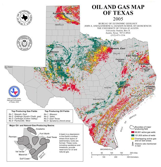 Oil and Gas map of Texas 2005 texas Seed Agricultural