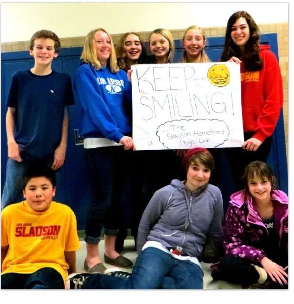 Teens rally for Motts at Slauson Middle School in Ann Arbor - at the Homefront Hugs Volunteer Club !