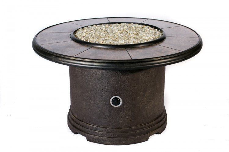 Traditional Brown Chat Gas Firepit Table 28in Base 44 In Top 29 In Tall Fire Pit Table Gas Fire Pit Table Fire Pit