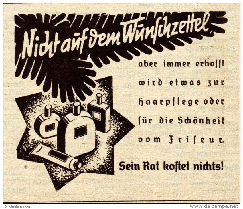 Original Werbung Anzeige 1938 Der Friseur An Weihnachten Ca 65 X 60 Mm Werbung Vintage Werbung Weihnachten