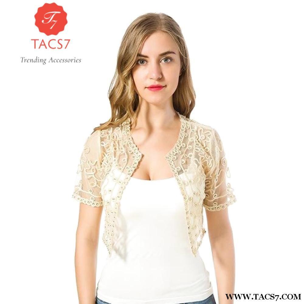 1c75dd859e0 Women Basic Coat 2018 Summer Style Women Perspective Shawl Fashion Hollow  Out Lace Boleros Short Sleeve Coats Jackets Female