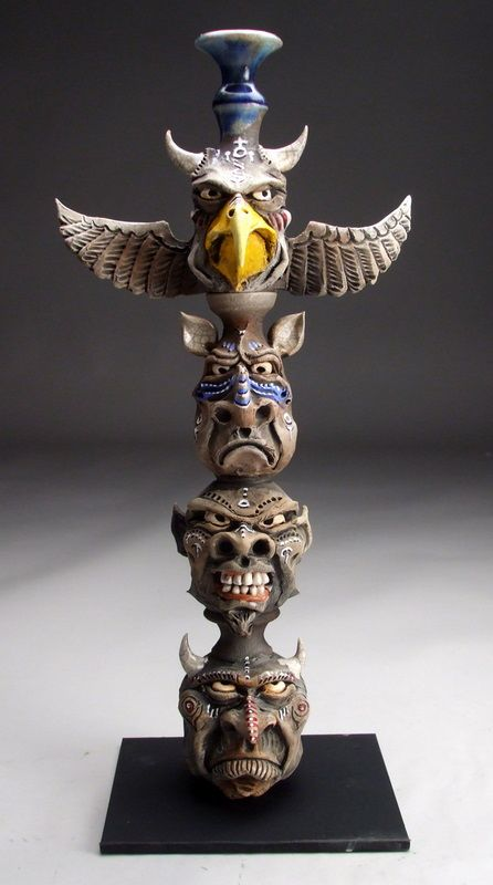 Mitchell Grafton Totem Pole Ceramic Sculpture