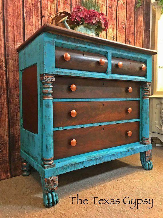 Texas Gypsy Style Turquoise Rustic Boho Antique Empire Clawfoot Dresser Buffet Gypsy Style Furniture