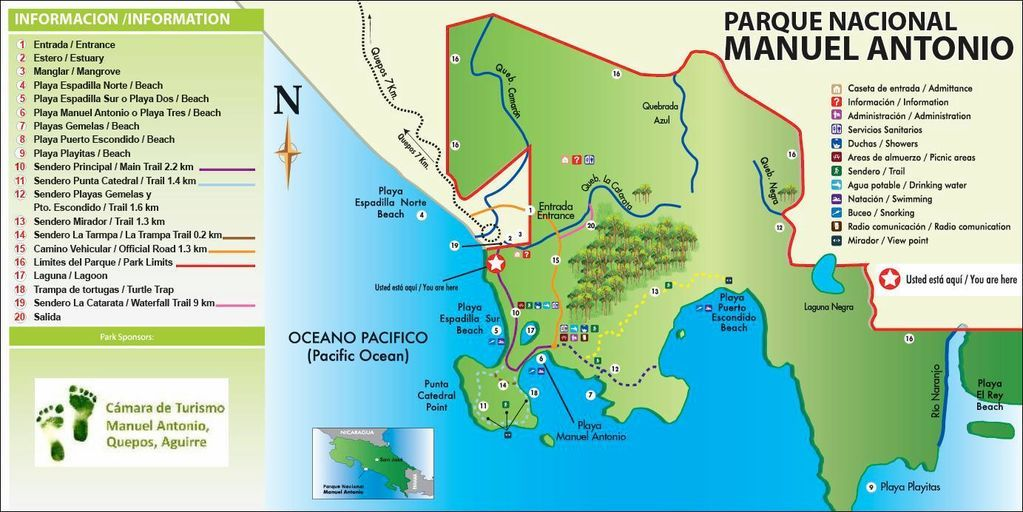 Manuel Antonio map Costa Rica