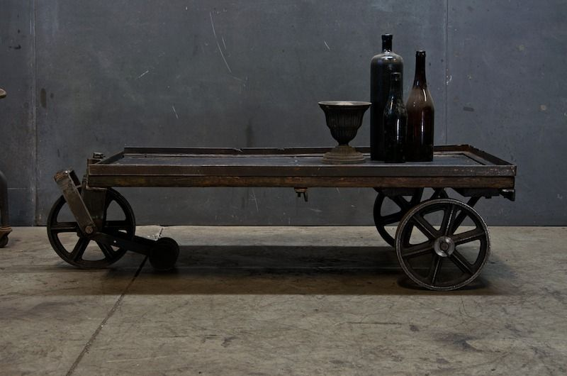 Vintage Industrial Steel Wheeled Mooring Cart, Coffee Table