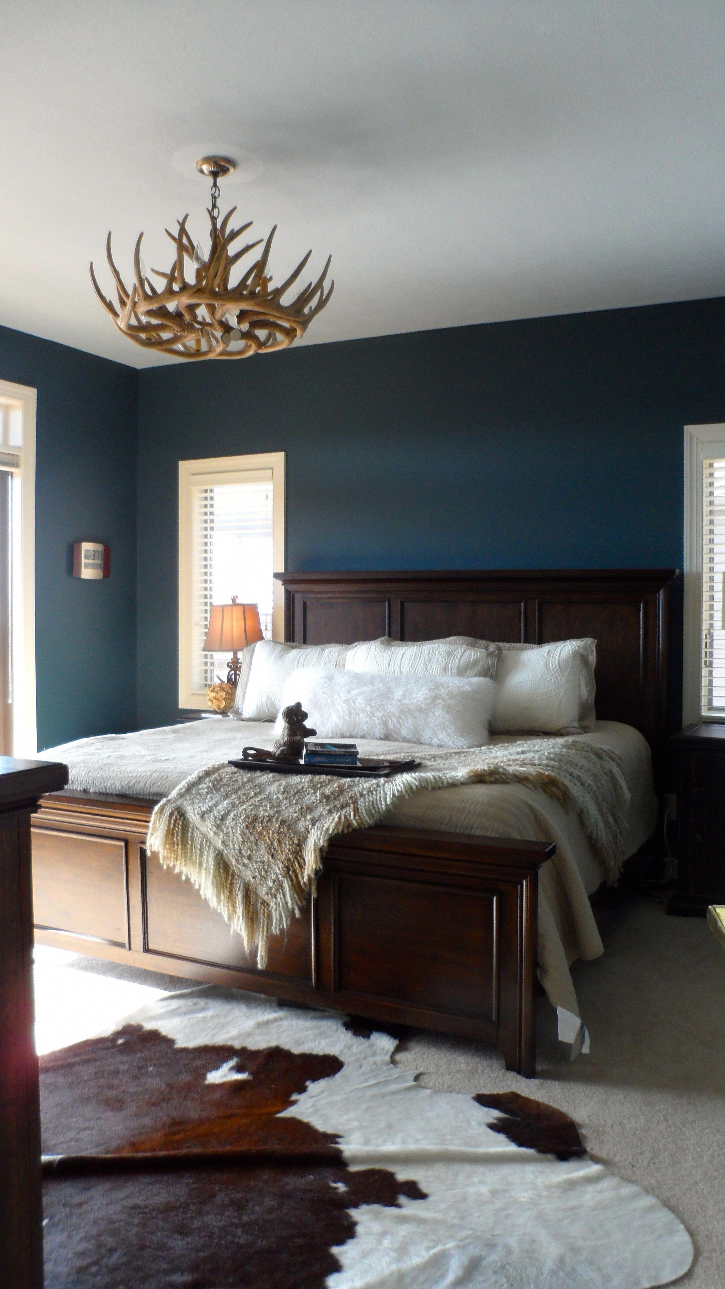 Cowhide Rug Chandelier Modernhomedecorbedroom Blue Master Bedroom Master Bedrooms Decor Blue Bedroom Walls