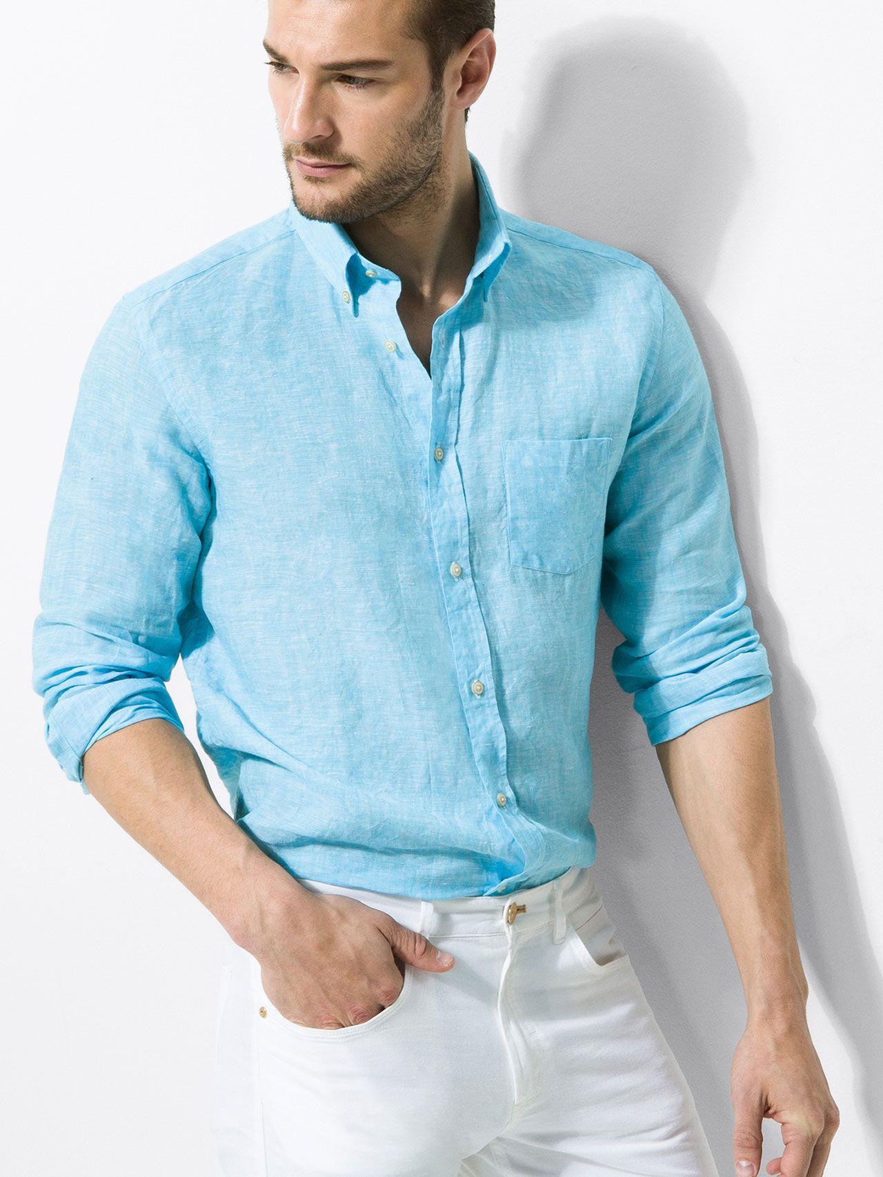 LIGHT TURQUOISE LINEN SHIRT | colors | Pinterest | Light turquoise