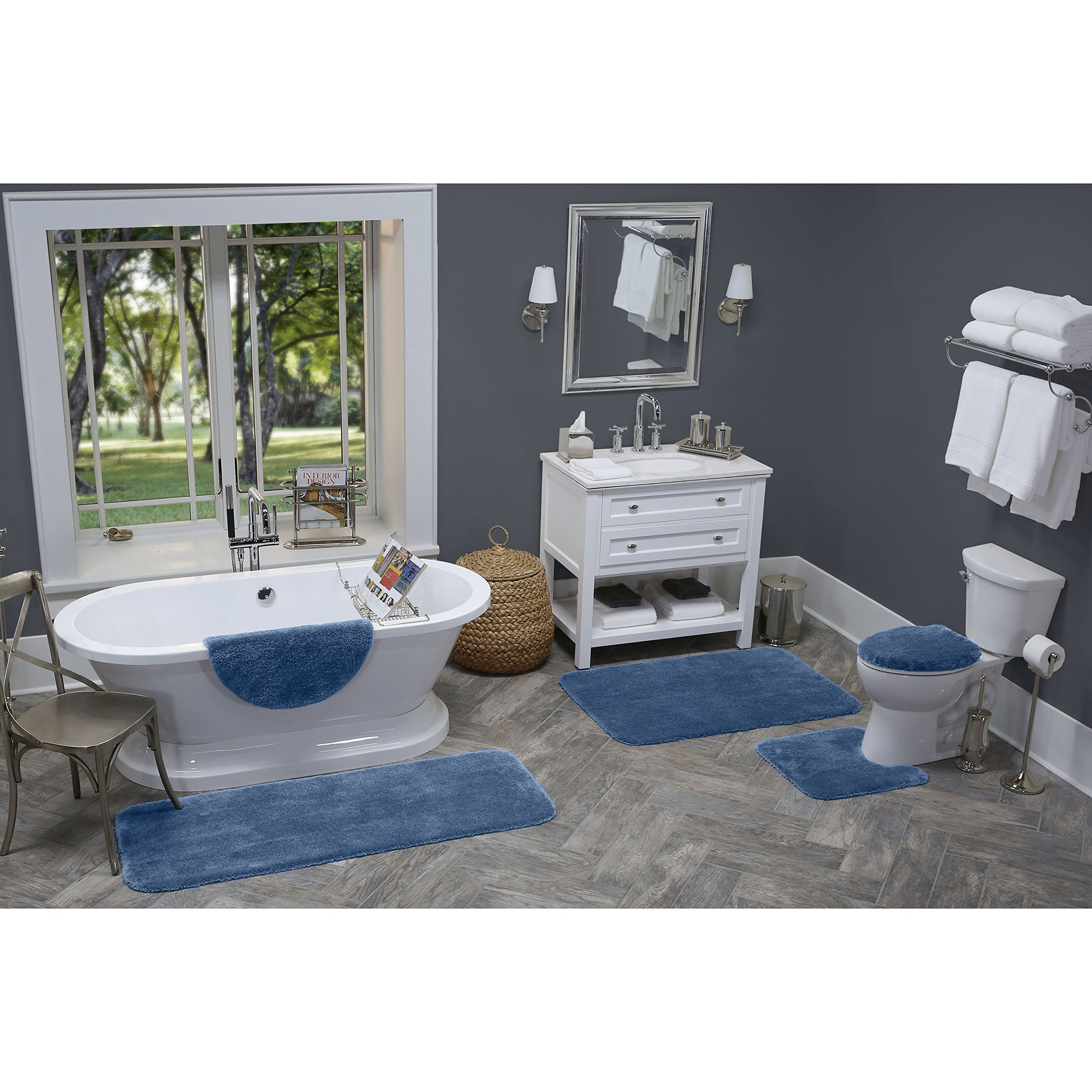 Bathroom Rugs Set Maples Rugs 3 Piece Non Slip Bath Rug And Mats Sets For Kitchen Shower And Toilet Federal Blue White Bathroom Rug Bath Rugs Sets Bath Rug [ 2560 x 2560 Pixel ]