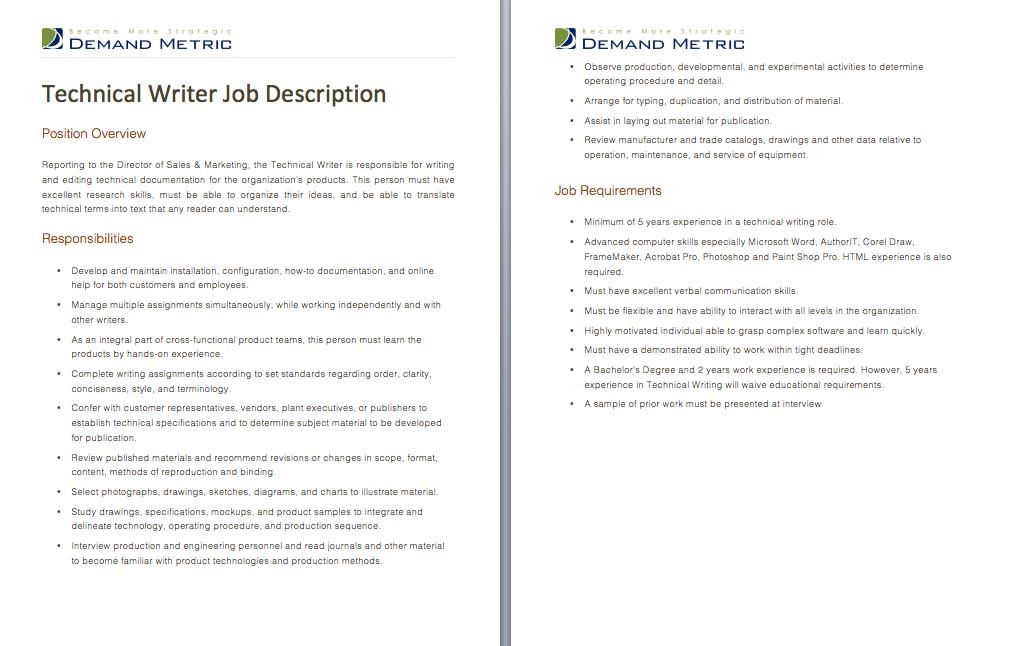 Technical Writer Job Description A template to quickly