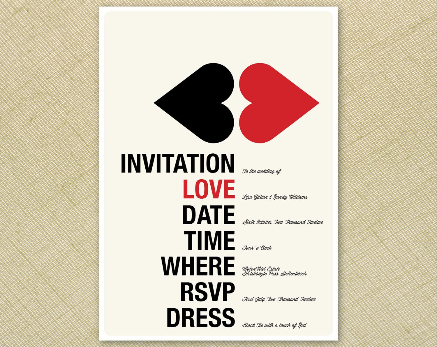 Wedding Invitation Retro Kissing Hearts Red Cream Black Funky ...