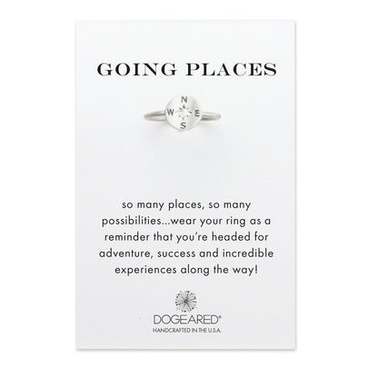 going places, flat compass ring, SS, size 5