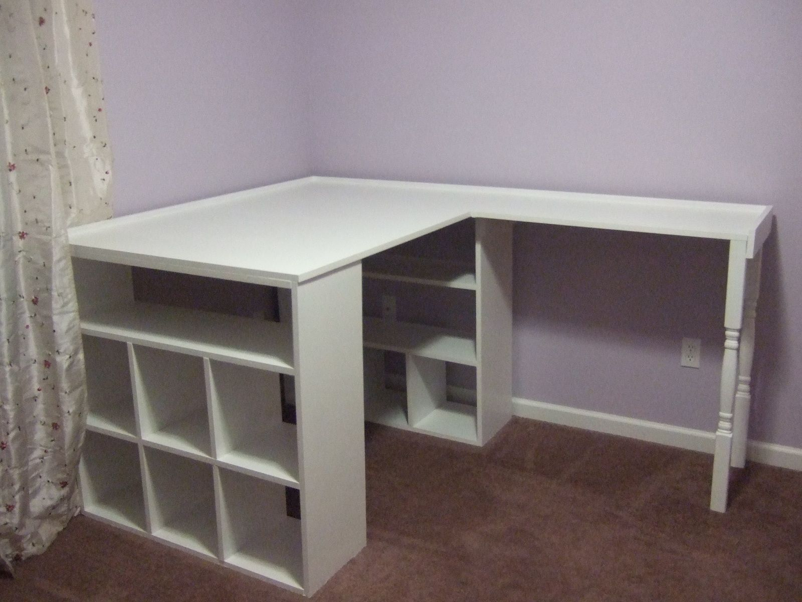 Homemade Desk (made of bookcases and table tops). this would be a great  corner desk craft area.
