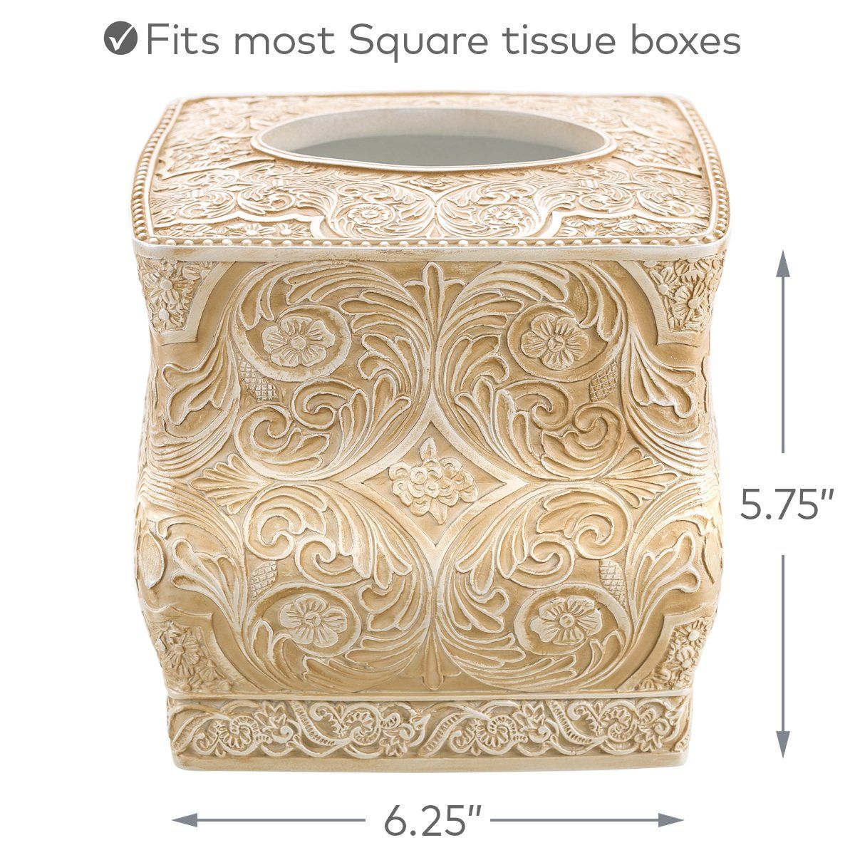 Decorative Tissue Holder is Finished in Creative Scents Square Tissue Box Cover