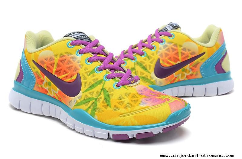 5b6165179eb9 Authentic Womens Nike Free Tr Fit Lemon Yellow Turquoise Red Purple Floral  Training Shoes