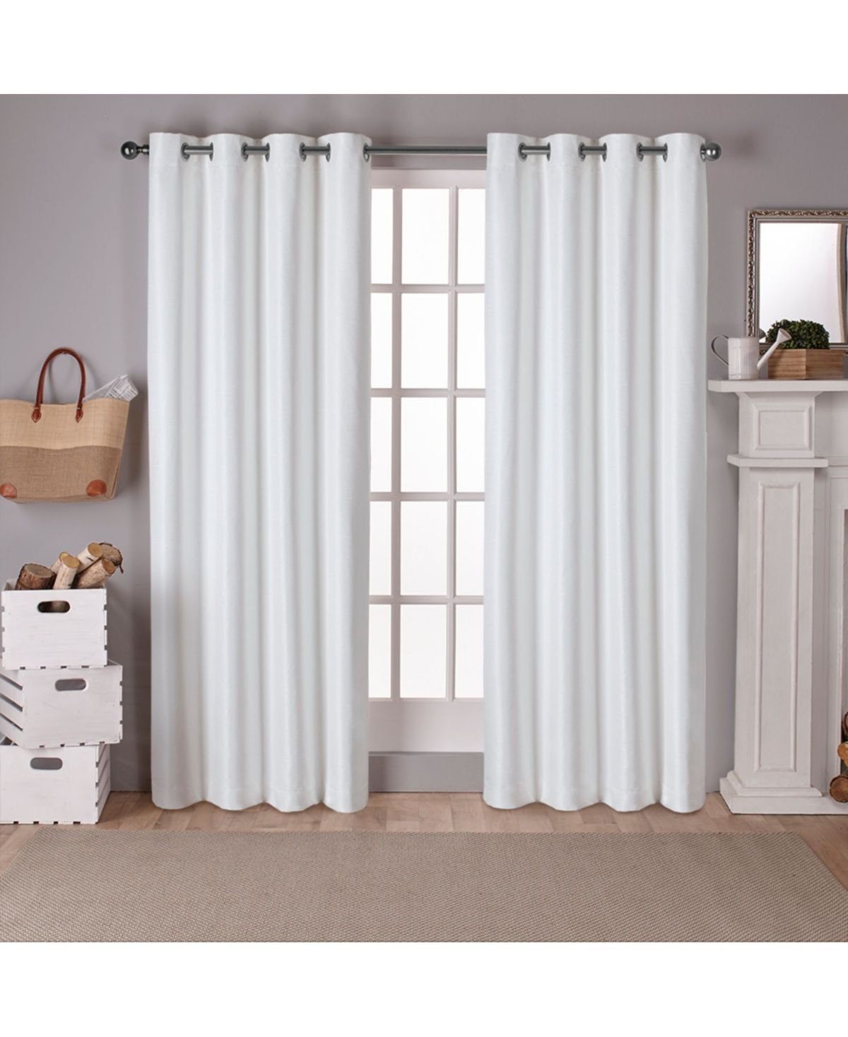 Exclusive Home Raw Silk Woven Blackout Grommet Top Curtain Panel