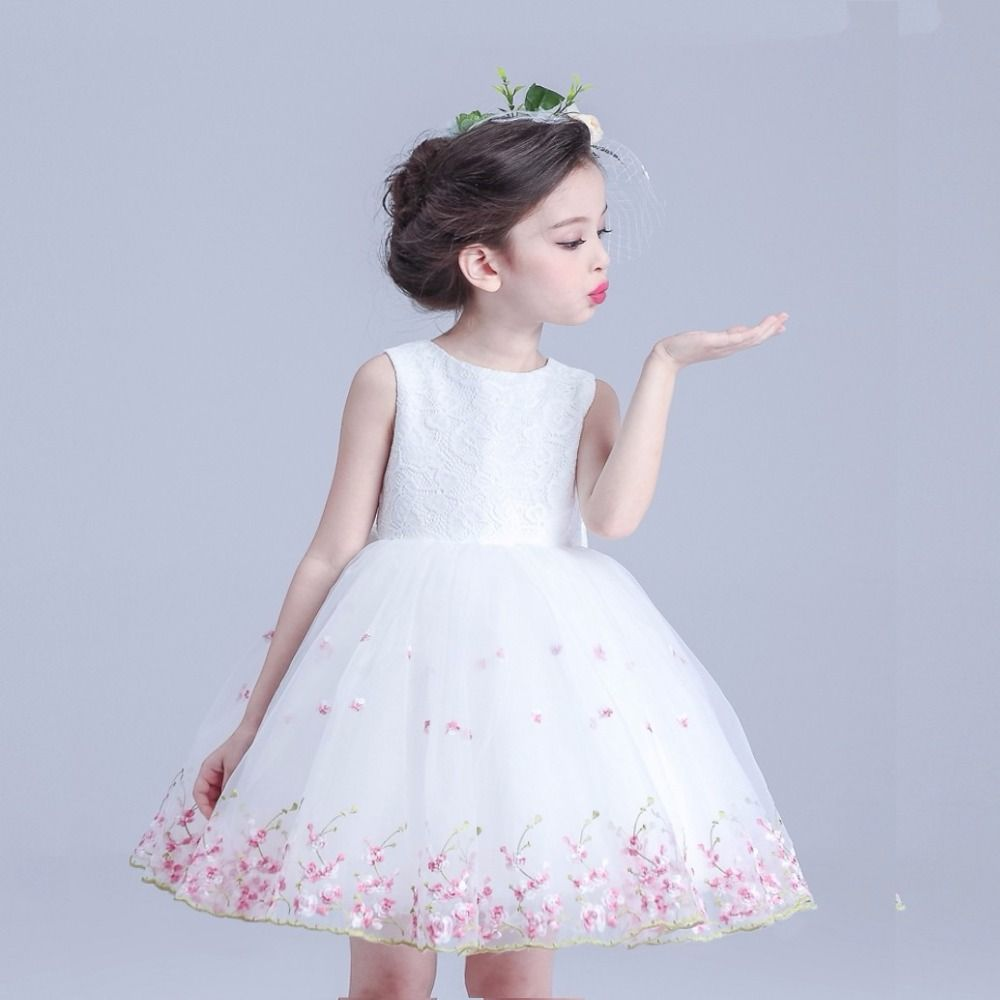 Sweet a line lace top flower girl dresses gowns little girl formal