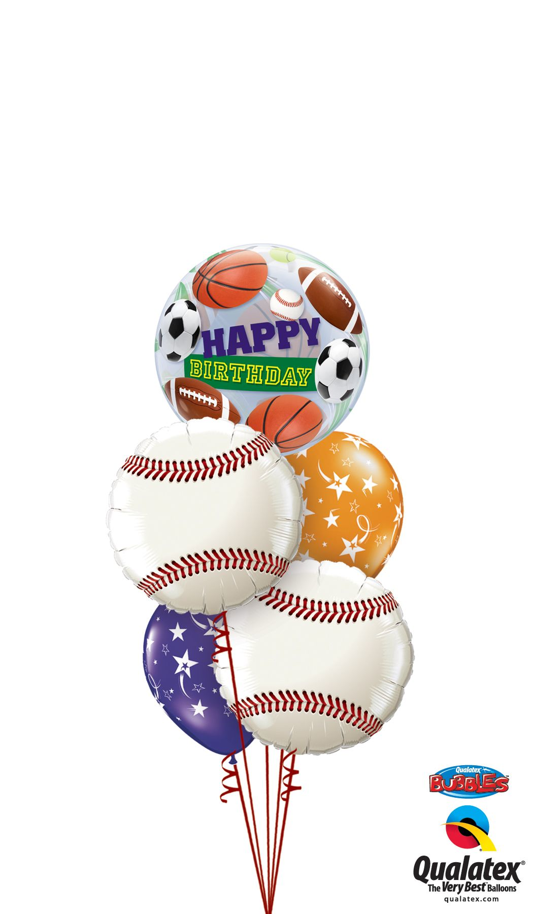 This Is The Best Way To Wish A Sport Fan Happy Birthday A Unique Qualatex Bubble Balloon Surrounded By Baseball Microfoil Qualatex Balloons Qualatex Balloons