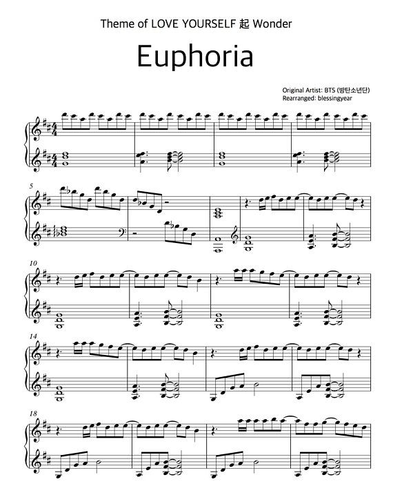 BTS(방탄소년단) - Euphoria: PIANO COVER sheet (printable