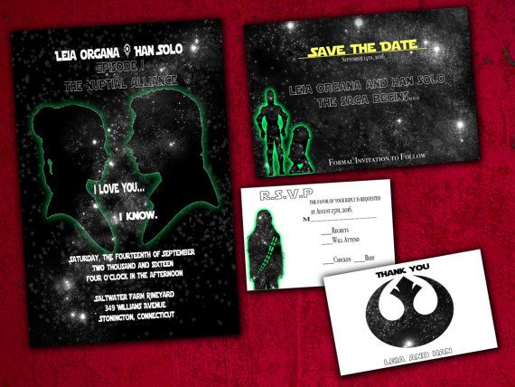 Lovely Han And Leia Star Wars Inspired Wedding Invitation, Save The Date, RSVP, And