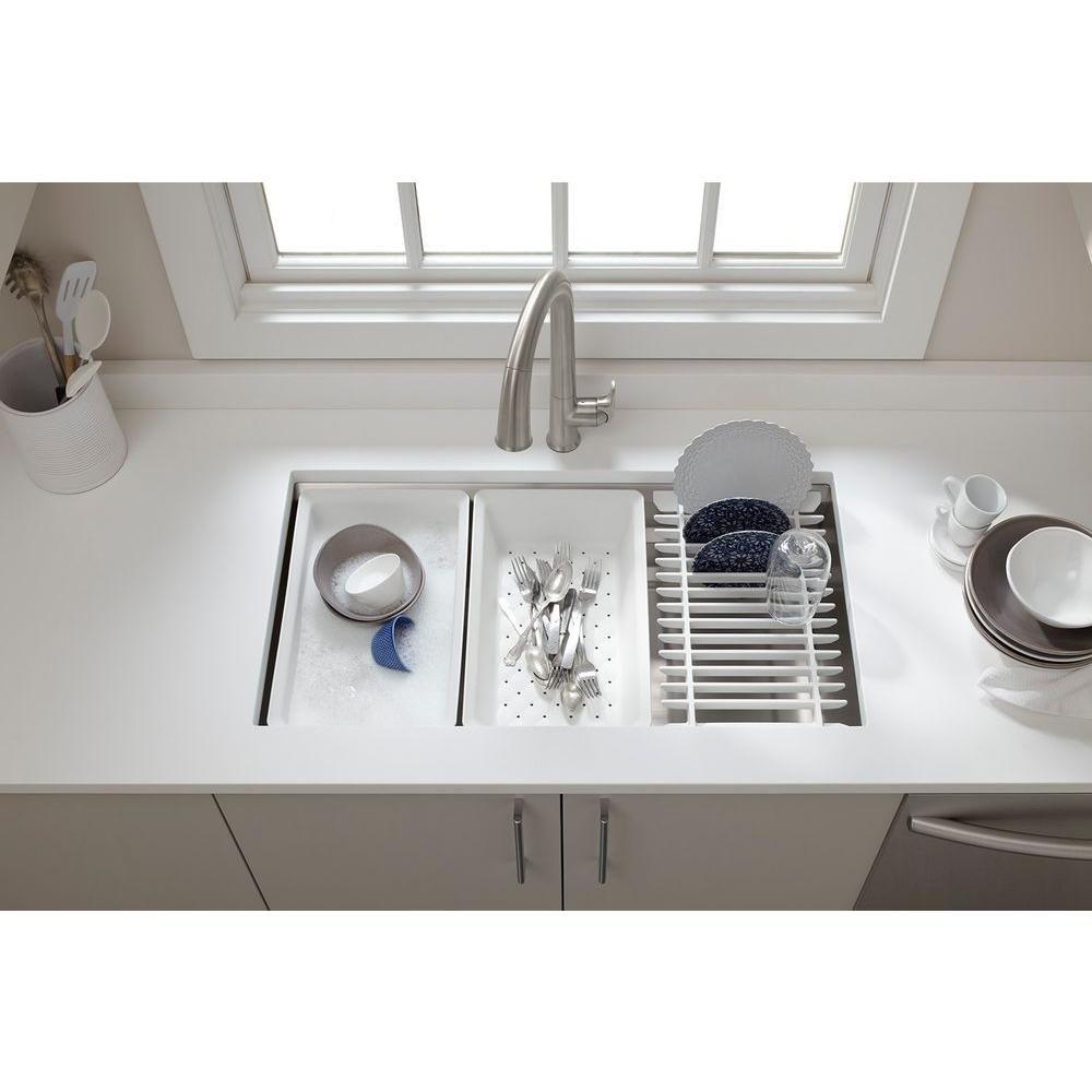 Kohler Prolific Workstation Undermount Stainless Steel 33 In Single Bowl Kitchen Sink Kit With Accessories K 5540 Na The Home Depot Undermount Kitchen Sinks Kitchen Sink Accessories Single Basin Kitchen Sink