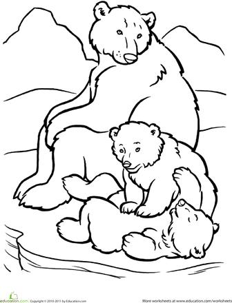 polar bear family coloring page preschool arctic animal theme