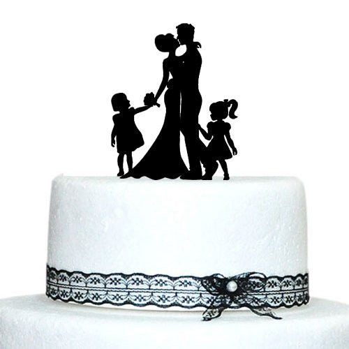 Bride And Groom Silhouette With Two Girl Family Wedding Cake Topper