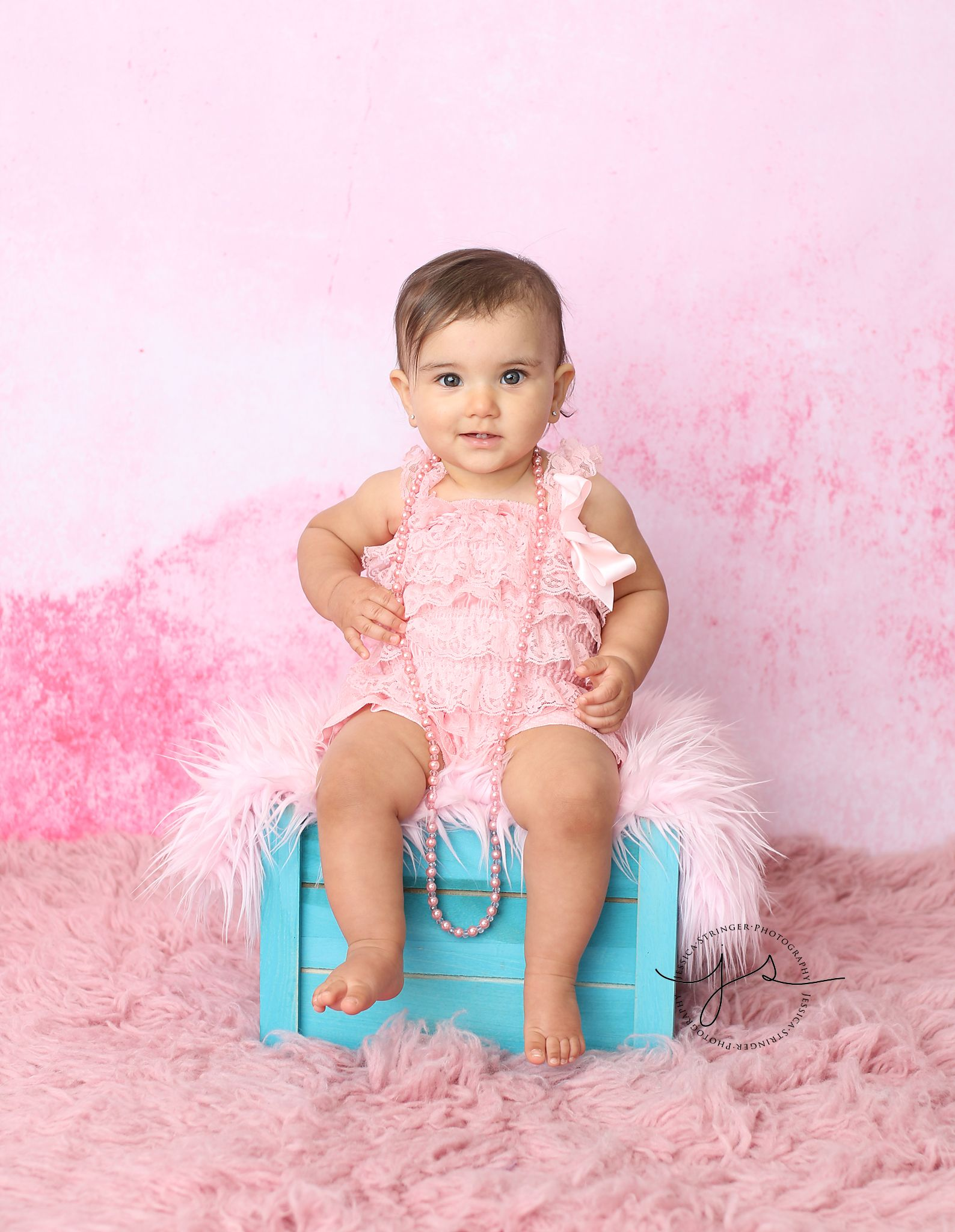 07c7f9daa One year old session - pink romper Jessica Stringer Photography ...