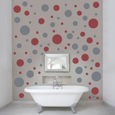 Ebern Designs Polka Dots Wall Decal Color: Dark Red / Storm Gray