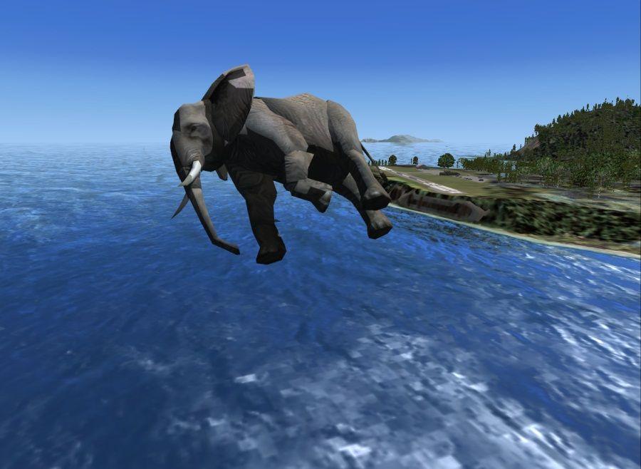 Flying elephant blue sky