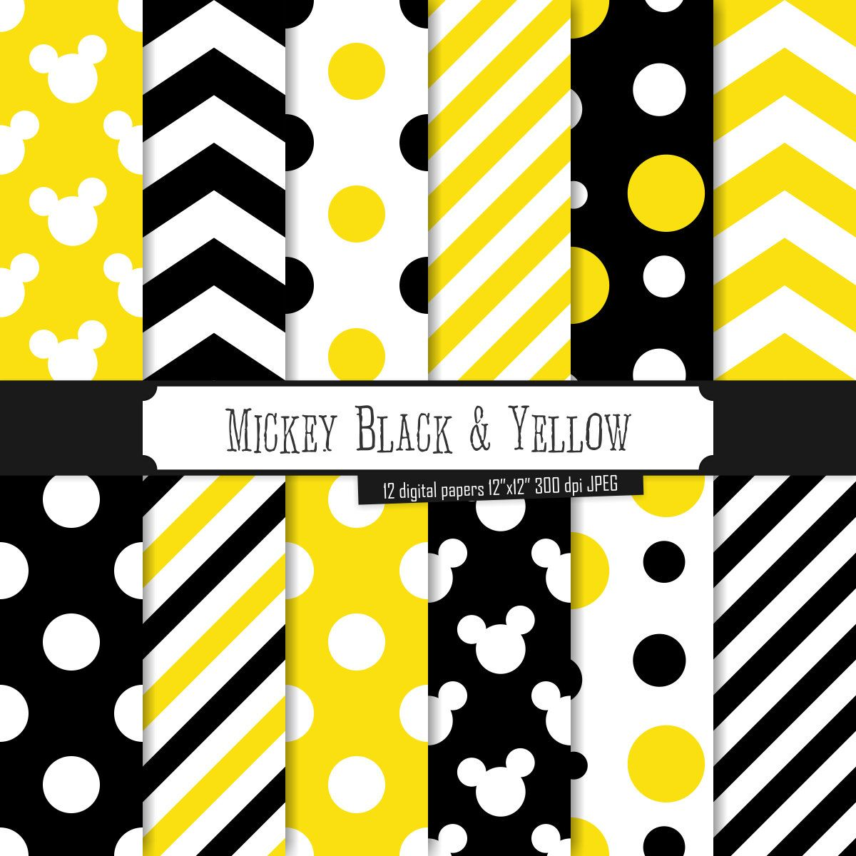 Buy 2 Get 1 Free! Digital Paper Mickey Black & Yellow